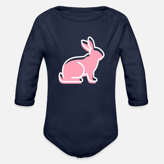 Symbol  Baby Clothing - A Sitting Rabbit - Organic Long-Sleeved Baby Bodysuit dark navy