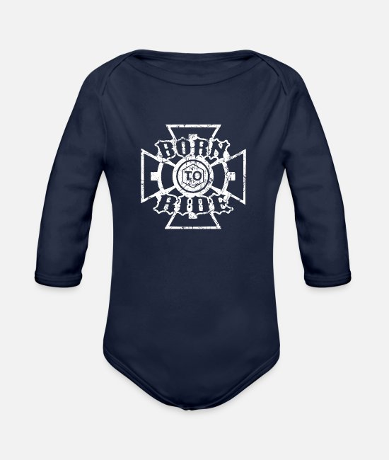 Husband Baby One Pieces - BORN RIDE BIKER MOTORRAD FAHRER GESCHENK kreuz - Organic Long-Sleeved Baby Bodysuit dark navy