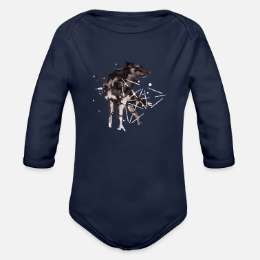Watercolour Wolf watercolour - Organic Long-Sleeved Baby Bodysuit