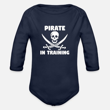 Training Pirate In Training - Organic Long Sleeve Baby Bodysuit