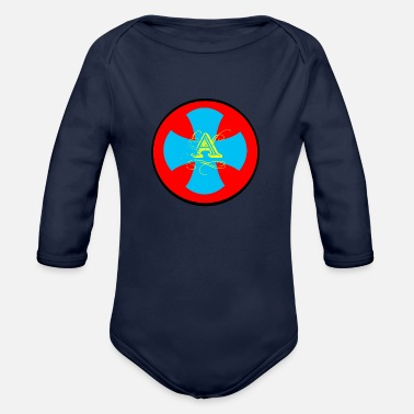 Lettering A letter - Organic Long Sleeve Baby Bodysuit