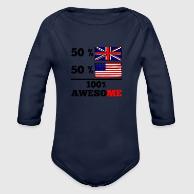 Half British Half American 100% Awesome - Organic Long Sleeve Baby Bodysuit
