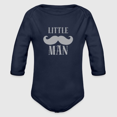 Baby Cute Little Man. Beard. Hipster - Organic Long Sleeve Baby Bodysuit