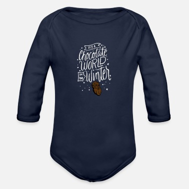 Winter chocolate World in the Winter - Organic Long-Sleeved Baby Bodysuit