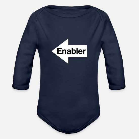 Troublemaker Baby Clothing - Enabler - White Arrow Pointing Right - Black Text - Organic Long-Sleeved Baby Bodysuit dark navy