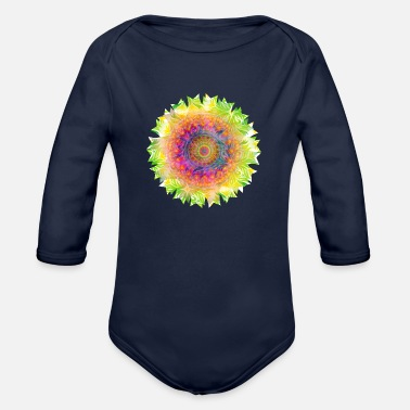 Colorful psychedelic colorful mandala kaleidoscope - Organic Long-Sleeved Baby Bodysuit
