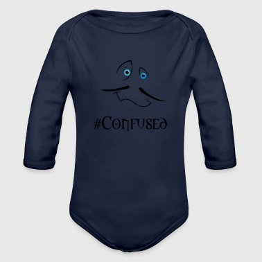 Confused confused - Organic Long Sleeve Baby Bodysuit