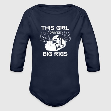 I drive big cars - Organic Long Sleeve Baby Bodysuit