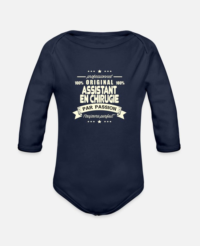 Assistant In Surgery Baby One Pieces - Assistant in Surgery Original - Organic Long-Sleeved Baby Bodysuit dark navy