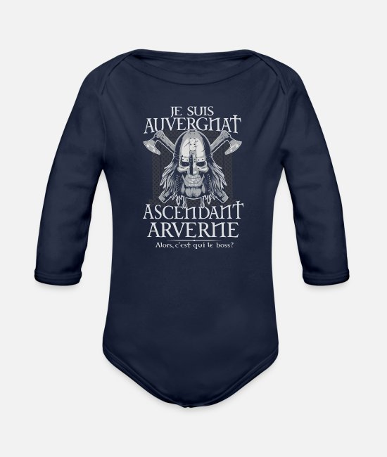 Arverne Baby One Pieces - Auvergnat - Ascendant Arverne - Organic Long-Sleeved Baby Bodysuit dark navy