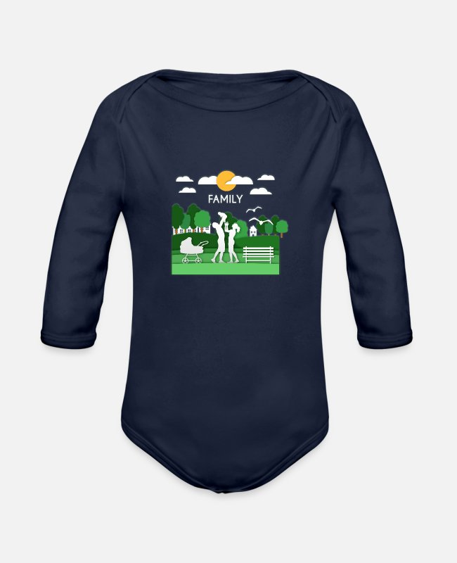 Reunion Baby One Pieces - family 35 F - Organic Long-Sleeved Baby Bodysuit dark navy