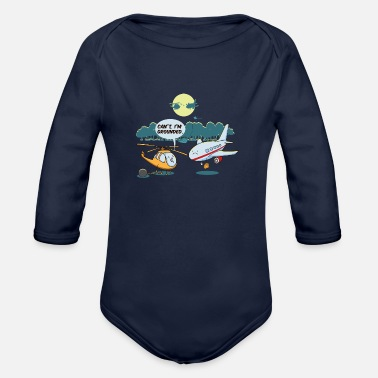 Cute Helicopter Cool Funny Cute Helicopter Pilot Fans BoysJokes - Organic Long-Sleeved Baby Bodysuit