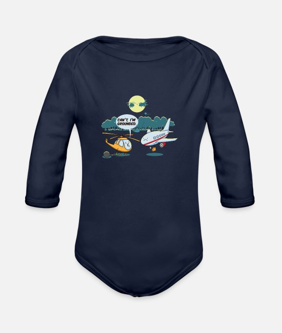 Quote Baby One Pieces - Cool Funny Cute Helicopter Pilot Fans BoysJokes - Organic Long-Sleeved Baby Bodysuit dark navy