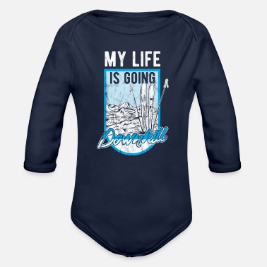 Ski Resort Ski Skier Skiing Winter Sport Funny Gift Idea - Organic Long-Sleeved Baby Bodysuit
