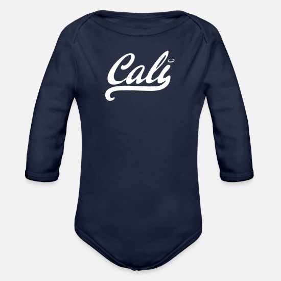 Movie Baby Clothing - Cali black logo - Organic Long-Sleeved Baby Bodysuit dark navy