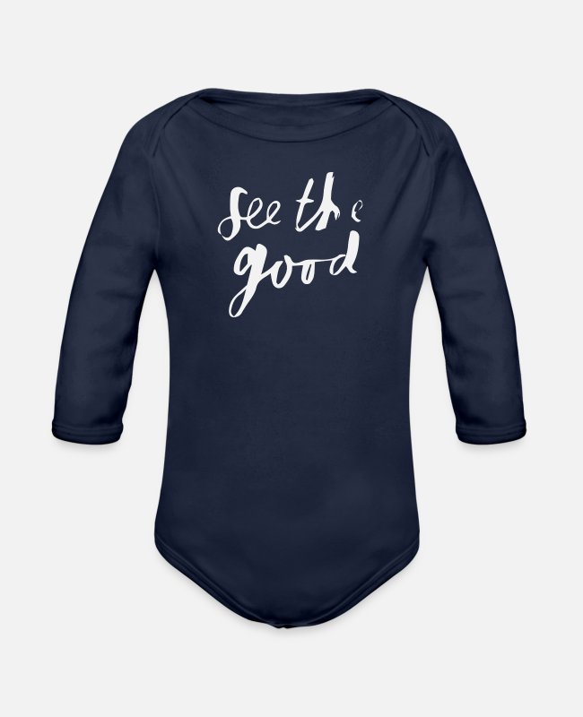 Movie Baby One Pieces - See - Organic Long-Sleeved Baby Bodysuit dark navy