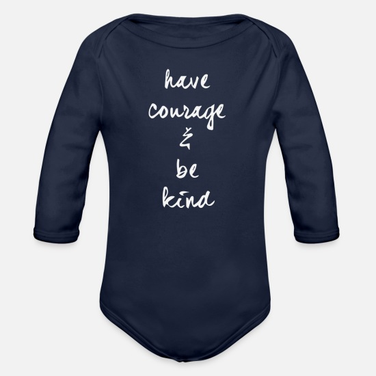 Kindness Baby Clothing - Be Kind - Organic Long-Sleeved Baby Bodysuit dark navy