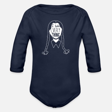 Addams Wednesday Addams Hates Everything - Organic Long-Sleeved Baby Bodysuit