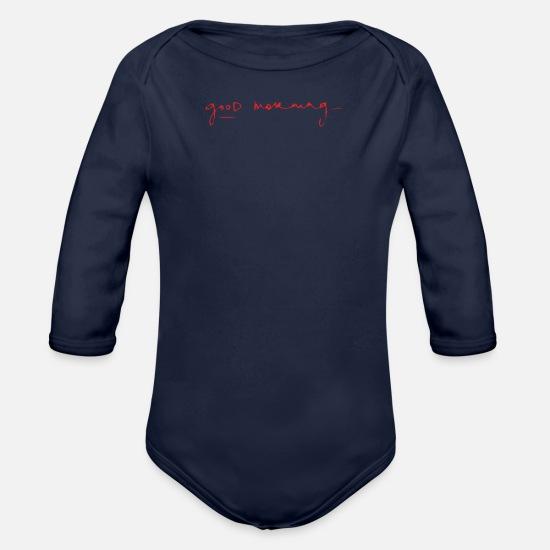 Movie Baby Clothing - Good Morning - Organic Long-Sleeved Baby Bodysuit dark navy