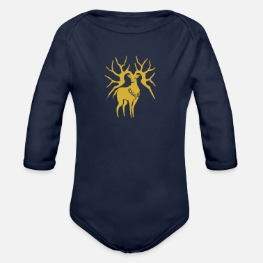 Three Hauses Golden Deer Emblem - Organic Long-Sleeved Baby Bodysuit
