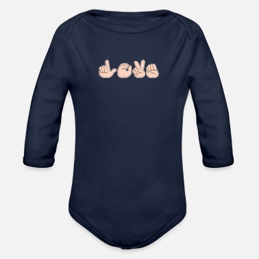 Sign Love Sign Language Valentine's Day - Organic Long-Sleeved Baby Bodysuit