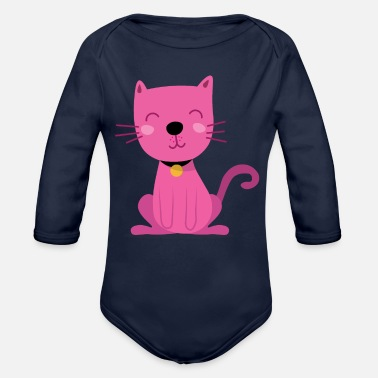Dogs Pink Sitting Cartoon Cat - Organic Long-Sleeved Baby Bodysuit
