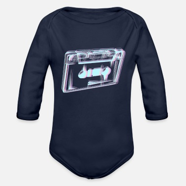 Cassette Tape Vaporwave Aesthetic Gift Synthwave - Organic Long-Sleeved Baby Bodysuit