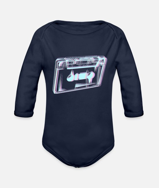 Vaporwave Baby One Pieces - Cassette Tape Vaporwave Aesthetic Gift Synthwave - Organic Long-Sleeved Baby Bodysuit dark navy