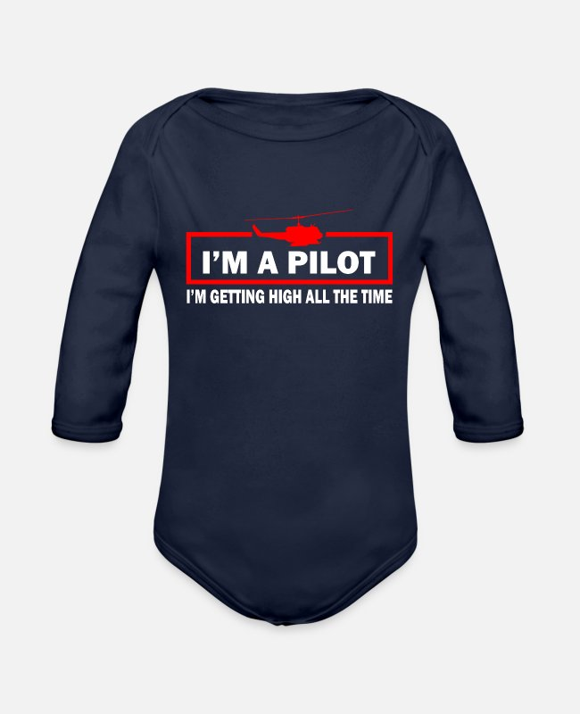Pilot Baby One Pieces - Helicopter Pilot Gift I Military Heli Aviator - Organic Long-Sleeved Baby Bodysuit dark navy