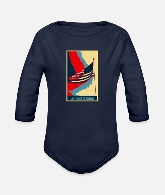 New York Baby One Pieces - US Flag - Organic Long-Sleeved Baby Bodysuit dark navy