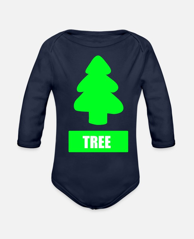 Tree Line Baby One Pieces - TREE - Organic Long-Sleeved Baby Bodysuit dark navy
