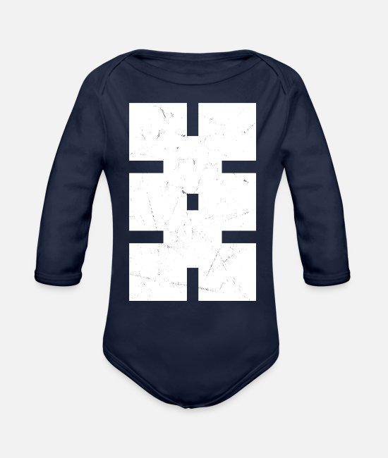 Pattern Baby One Pieces - Minimal Puzzle - Organic Long-Sleeved Baby Bodysuit dark navy
