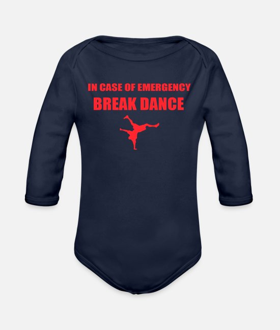 New World Order Baby Clothing - BREAK DANCE New - Organic Long-Sleeved Baby Bodysuit dark navy