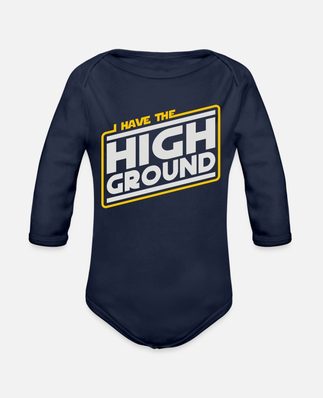 Highheels Baby One Pieces - I Have the High Ground - Organic Long-Sleeved Baby Bodysuit dark navy