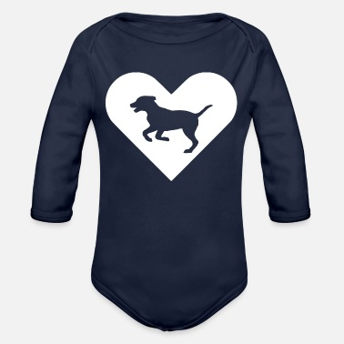 Heart-Dog (white) - Organic Long-Sleeved Baby Bodysuit
