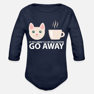 Nerd Kitty - Geek Cat Cats and Coffee Cute Geek Kitty Cate Meow Pink - Organic Long-Sleeved Baby Bodysuit