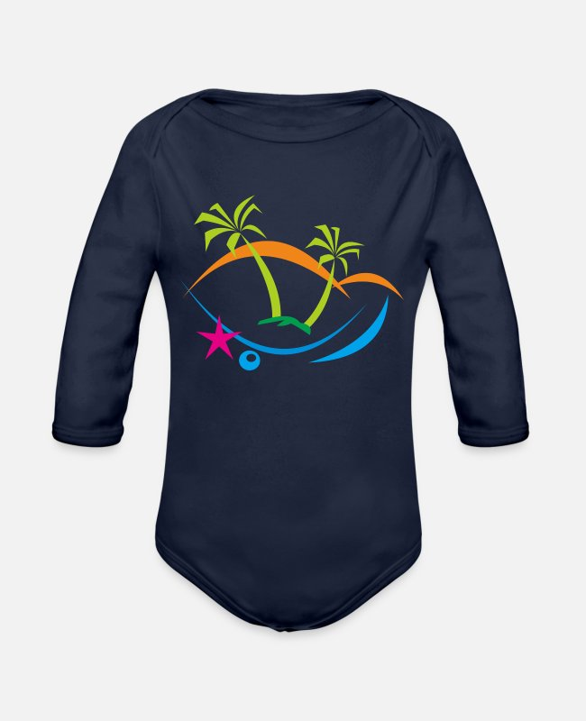 Holiday Island Baby One Pieces - holiday - Organic Long-Sleeved Baby Bodysuit dark navy