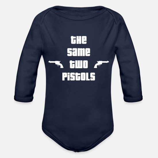 Two Color Baby Clothing - The Same Pistols - Organic Long-Sleeved Baby Bodysuit dark navy