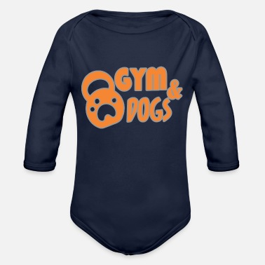 Funny Gym gym and dog - Organic Long-Sleeved Baby Bodysuit