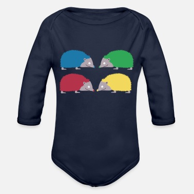 Bright Colors Colorful hedgehogs in bright colors - Organic Long-Sleeved Baby Bodysuit