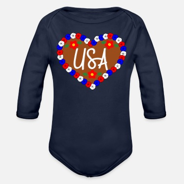Oktoberfest Gingerbread Heart Usa - Octoberfest - Organic Long-Sleeved Baby Bodysuit