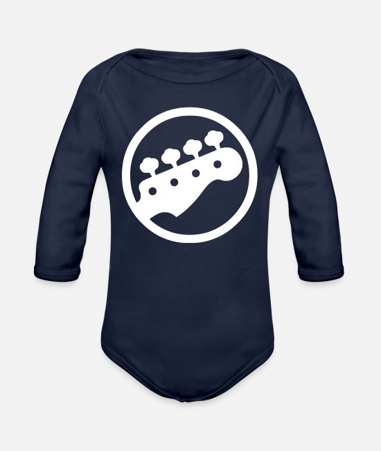 Bass Baby One Pieces - Bass Guitar Player - Organic Long-Sleeved Baby Bodysuit dark navy