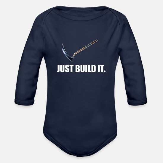 Video Game Baby Clothing - JUST BUILD IT - WHITE - Organic Long-Sleeved Baby Bodysuit dark navy