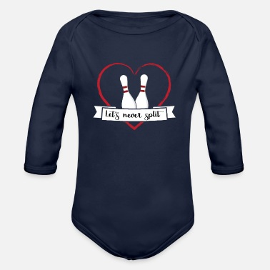 Let´s never split. Valentine´s day Bowling Couple - Organic Long Sleeve Baby Bodysuit