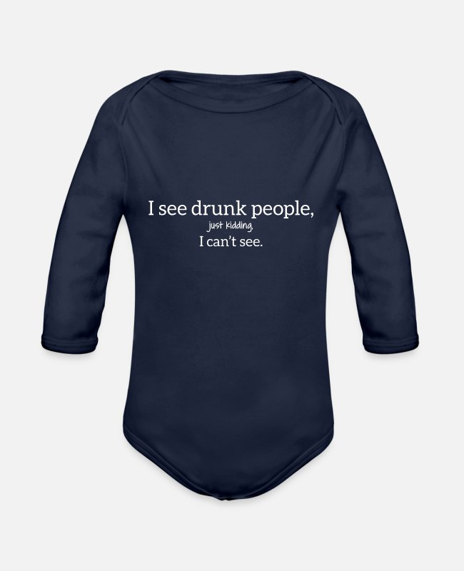 New Years Baby One Pieces - DRUNK SEE - Organic Long-Sleeved Baby Bodysuit dark navy