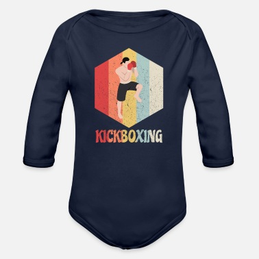 Footer Nice t-shirt design showing a kickboxer in a figh - Organic Long-Sleeved Baby Bodysuit