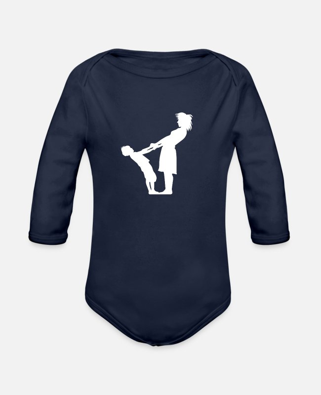 Mummy Baby One Pieces - Mum - Organic Long-Sleeved Baby Bodysuit dark navy