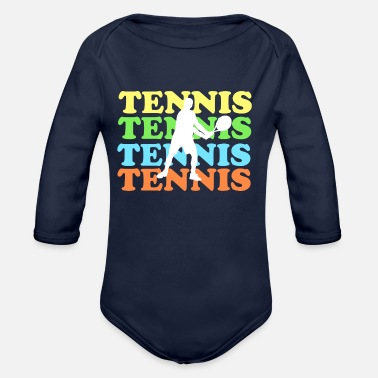 Tennis with colored font - Organic Long-Sleeved Baby Bodysuit