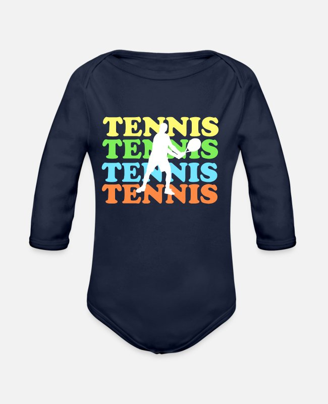Tennis Baby One Pieces - Tennis with colored font - Organic Long-Sleeved Baby Bodysuit dark navy