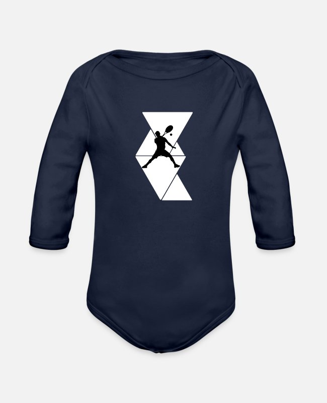 Tennis Baby One Pieces - Tennis cool hobby gift idea - Organic Long-Sleeved Baby Bodysuit dark navy